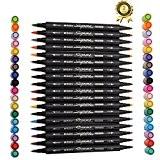 Magicdo® Lot de 12/18/24 pinceaux, brosses, stylos, aquarelles double pointe, marqueurs à base d'eau pour la peinture, croquis et couleurs ...