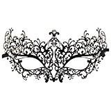 Masque - SODIAL(R)Masque de strass metal luxe venitien coupe du laser mascarade filigrane (noir / strass blanc)