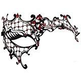 Masque - SODIAL(R)Masque fantome de filigrane metal brillant pour Masquerade venitien noir + rouge