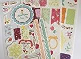 Miss Fleurs Lot de 3stickers feuilles-kawaii Journal Papeterie Planning Craft-Bordures en dentelle fleurs onglets