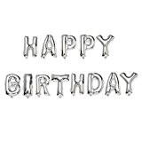 MMRM 13pcs 16'' Happy Birthday Lettres Ballons à Membrane en Aluminium Décoration Anniversaire Argent