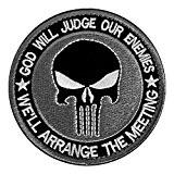 MMRM Rond Punisher Crâne Militaire Patch Tactique Ruban Armée Morale Badge - Gris