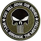 MMRM Rond Punisher Crâne Militaire Patch Tactique Ruban Armée Morale Badge - Vert