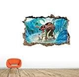 Moana vaiana mur Sticker mural Home Decor Autocollant mural enfants Chambre Nursery jeux en Peel et Stick 80x56cm