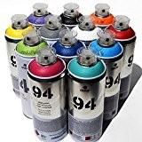Montana MTN 94Peinture en spray 400ml populaire Couleurs Lot de 12Graffiti Street Art mural Peinture aérosol principal Lot de 1