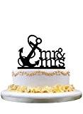 Mr & Mrs Nautical Anchor Navy Birthday Party Elegant Cake Decoration Topper