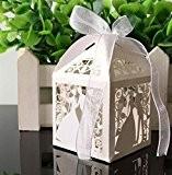 Musuntas 50 pièces Cage à oiseaux de projet de mariage baptême dragées Box Boîtes boîte Décoration de table BONBON Bonbonnière ...