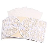 Musuntas Laser Cut 50pcs bricolage dentelle vintage floral invitations de mariage modèle inviter carte avec papillon blanc Cover