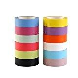 NUOLUX 12 Rouleaux Washi Tape Ruban Adhésif Décoratif 15mm x10m
