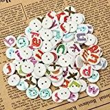 Ology(R)- 100pcs Mixte Lettre Alphabet bouton en bois peint la couture Scrapbooking
