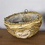 OLQMY-Panier en osier, paille de rotin, panier de fleurs, pots de fleurs, décorations créatives suspendus,un