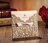 Or Laser Cut cartes invitations de mariage Avec Noeud Ruban sans impression sur mesure et personnalisée de mariage cartes cw5011, ...