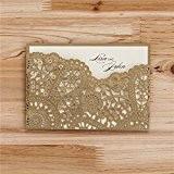 Or wishmade Kit de cartes invitations de mariage découpé au laser avec dentelle creux Fleurs Stock Carte pour fiançailles mariage ...