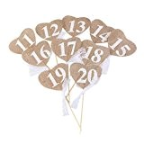 OULII Table de mariage 10pcs numéros 11-20 coeur forme bannière Decor avec bâton