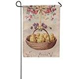 Ouneed® 1 pc Jardin Drapeau en lin Paques Decoration 32*46cm/ (D)