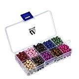 Outus Perles de Bois Rond avec Boîte pour la Fabrication de Bijoux, 700 Pièces, 6 mm, Couleurs Assorties