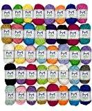 Pack essentiel de pelotes de laine bonbon - 40 pelotes de laine en acrylique - Assortiment de couleurs - Idéal ...