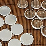 PandaHall - Lot de 10 Kit Supports Pendentif + Cabochons en Verre 25mm Transparent Dome pour Bijou Argent, Sans Nickel, ...