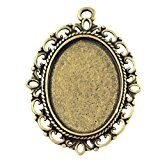 PandaHall - Lot De 10 Supports Pendentifs Ovales En Alliage Couleur Bronze Antique Pour Cabochon/Medaillon/Camee 25x18mm