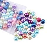 PandaHall - Lot de 100 Mixtes Perles Rondes Verre Nacre Couleurs Assorties 10mm Trou 1.5mm