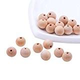 PandaHall - Lot de 100 perles en bois 16 mm avec boules en bois naturel