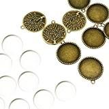 PandaHall-Lot de 10kits Supports Pendentifs +Cabochons en verre Domes, Sans Cadmium&Sans Nickel&Sans Plomb, Bronze Antique, Pendentif:32x28x2 mm,Cabochon: 25mm de diametre,7.4mm ...