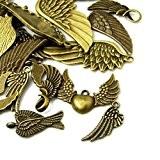 Paquet 30 Grams Bronze Antique Tibétain Mélange Aléatoire Breloques Ailes - (HA07030) - Charming Beads