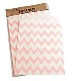 Paquet de 25 fête/bonbon Chevron ZIG ZAG Sac Favor cadeau d'anniversaire 13x18cm - ROSE CLAIR