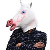 Party Story Latex masque de tête de licorne blanche caoutchouc masque de costume animal pour le soir cosplay
