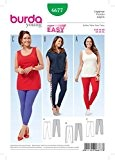 Patron de couture Burda Mesdames facile 6677 Leggings pour femme 3 Styles + sans Minerva Crafts Craft Guide