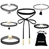 Paxcoo 6 Pcs Choker Collier pour Femmes Filles, Noir Classic Velvet Stretch Gothic Tattoo Lace