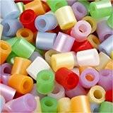 Perles à repasser, dim. 5x5 mm, la taille du trou 2,5 mm, couleurs nacrées, moyennes, 5000assortis