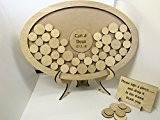 Personnalisé Mariage Livre d'Or ovale en forme de goutte Boîte en bois 54Cercles Souvenir Mariage Anniversaire Cadeau Cadre photo style ...