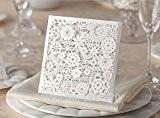 Pétales de fleurs blanc nacré Pailleté avec découpe Laser effet dentelle pour mariage ou Corporate avec enveloppes Invitation, assorti inclus ...