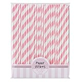 Pink Paper - PK-STRAWS - Pailles rayées  roses et blanches - pack de 30