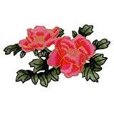 Pivoine Fleurs avec feuilles de Vert foncé brodée patchs à coudre Iron on patches