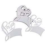 PIXNOR 50pcs Table nom Place carte pour verre à vin mariage Party Decoration (blanc)