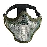 Pixnor CM01 Metal Mesh demi visage masque masque de protection avec bandeau pour les Sports de plein air de chasse ...