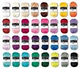 Prolana Lot de 20 pelotes de laine de 50grammes basiques en coton, mélange multicolore