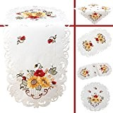 Quinnyshop Coquelicot Tournesol Broderie Chemin de table 40 x 90 cm Ovale Optique de satin, Blanc