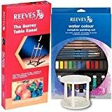 Reeves - Chevalet Surrey et Ensemble de 32 pieces pour peinture aquarelle - Idéal pour débutant et les loisirs