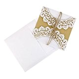 ROSENICE 10Pcs Cartes d'Invitation de mariage - Creux style européen (blanc)