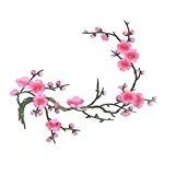 ROSENICE Applique Coudre Écusson Brodé Rose Prune Fleur Thermocollants Patch sur Vetement