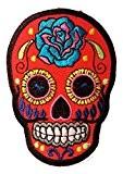 Roses colorés Crâne Rouge Punk Patch ''6,5 x 9,3 cm'' - Écusson brodé Ecussons Imprimés Ecussons Thermocollants Broderie Sur Vetement ...
