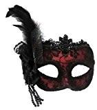 Rouge avec en dentelle noire vénitien masque de mascarade pour les yeux CARNAVAL sur le bandau
