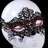Rouge Cristal Diamant Noir Sexy Masque en dentelle Masque Lady femmes fille de Concert Halloween Noël Fête d'anniversaire de Noël ...