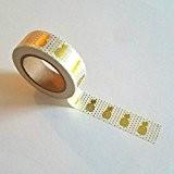 Rouleau de ruban adhésif à feuille d'or Motif ananas 15mm x 10mètres