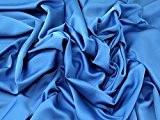 Royal Micro terne satiné crêpe Robe Tissu Bleu turquoise-au mètre