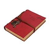 Saingace® 160 pages à reliure de cuir blanc retro classique vintage pages journal journal, Carnet (Rouge)