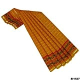 Saree Indien Jeux Robe Vintage En Coton Tissé À La Main Chanderi Tissu Recyclé Utilisé Jaune 5YD Rideau Drapé Femmes ...